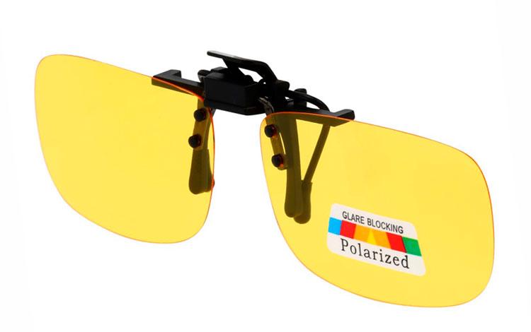 f00605eaa Clip-on solbriller i firkantet aflangt design med gule polaroid glas ...