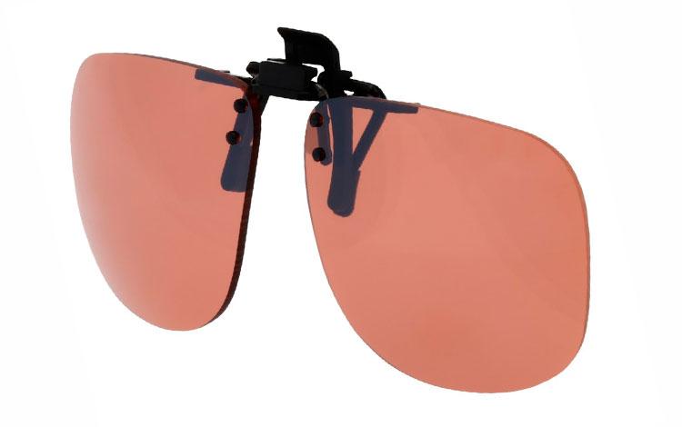 b304539e36c7 Firkantet clip-on solbriller med orangebrune glas. - Design nr. 3524